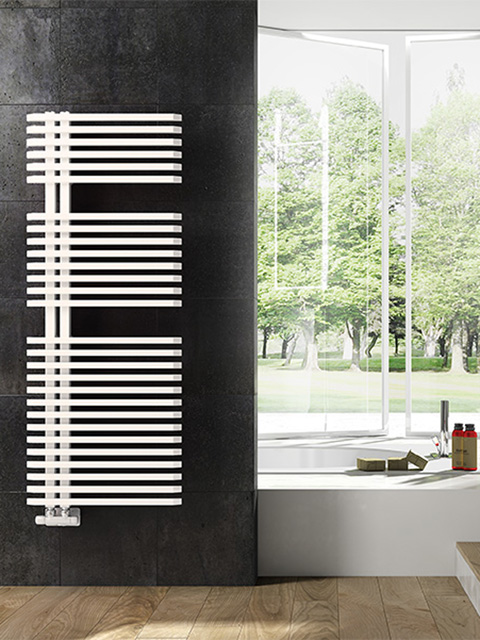 bathroom radiators, asymmetric radiators, red bathroom radiators