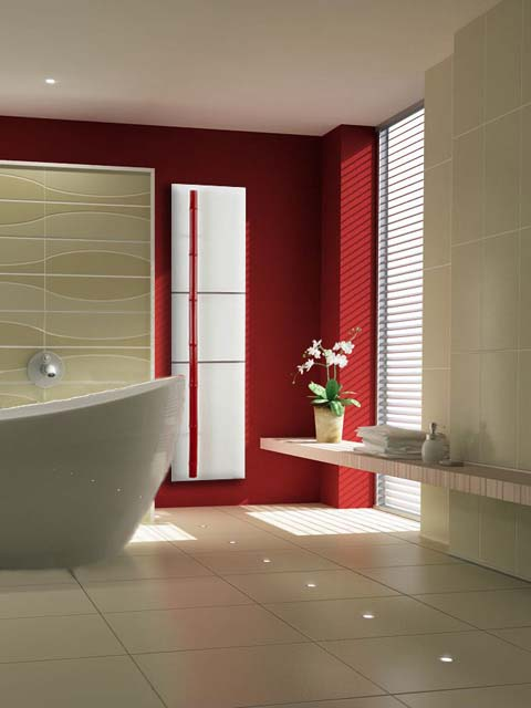 luxury radiators, stone bathroom radiator, red bathroom radiator