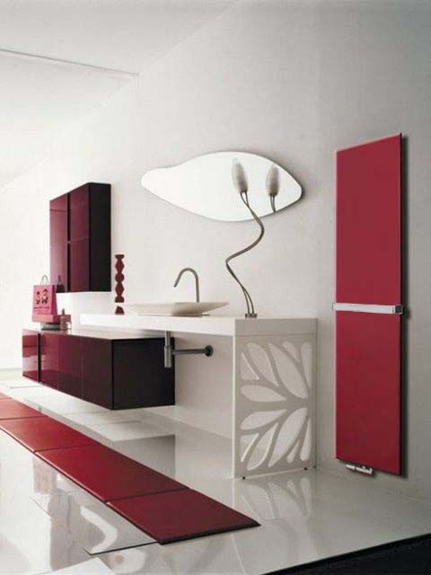 bathroom radiator, flat bathroom radiator, red bathroom radiator, bathroom heater