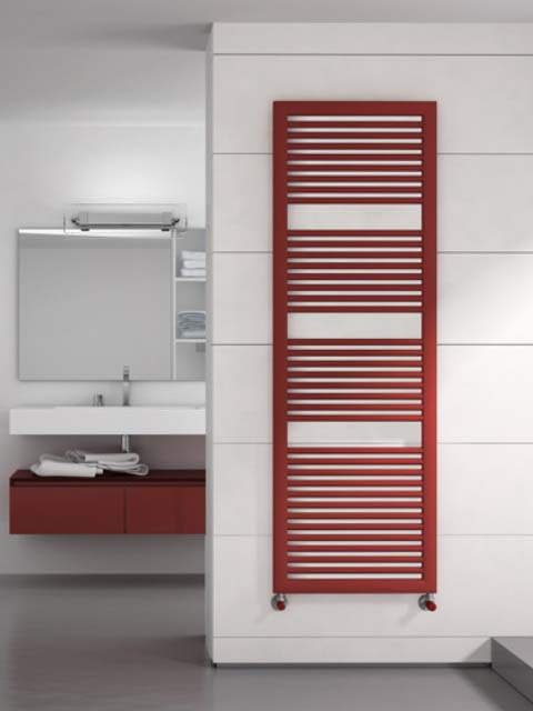 black towel radiators, red heated towel rails, coloured bathroom radiators, red radiators, heater