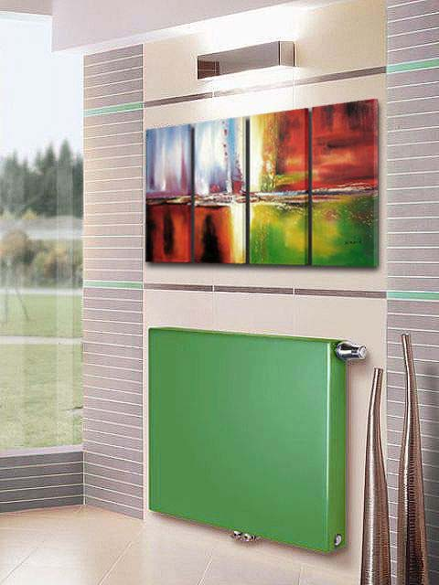 green radiators, flat panel radiators, central heating radiators, coloured radiators, heating