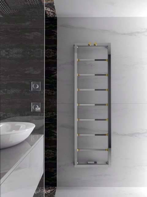 chrome towel radiator, designer towel radiator, copper towel radiator