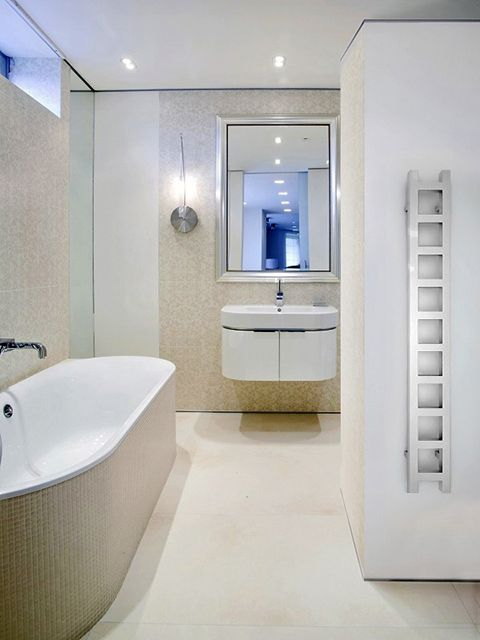 chrome towel radiators, narrow bathrom radiators, chrome electric towel rails,