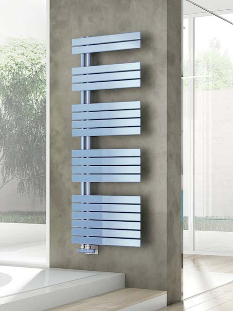 modern bathroom radiators, bathroom radiator towel rail, blue towel rails