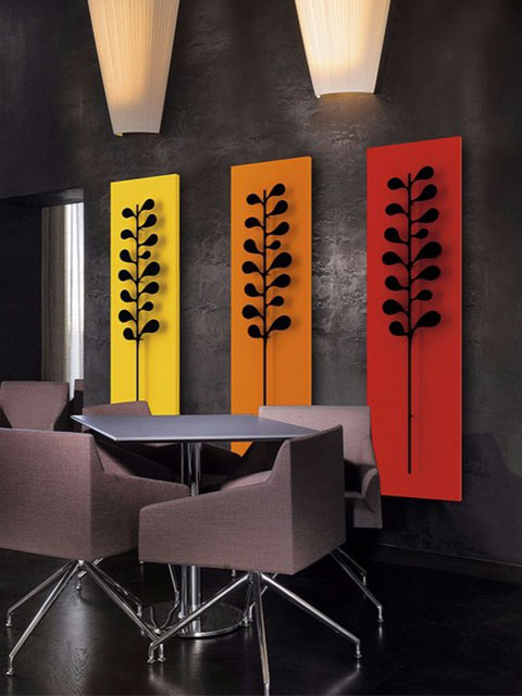 designer aluminium radiators, unusual radiators, orange radiators
