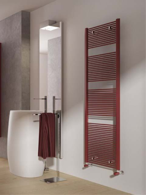 slimle towel radiators, coloured heated towel rails, red towel radiators