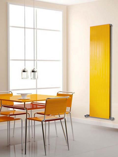 vertical radiators, kitchen radiators, yellow radiators, tall radiators