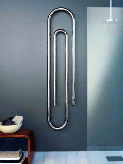 paperclip radiators, designer radiators, chrome towel radiator