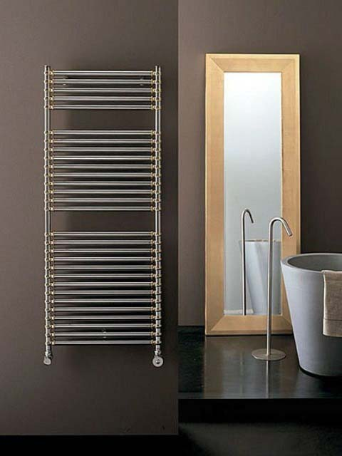 chrome towel rail radiator, decorative towel radiator, designer bathroom radiator