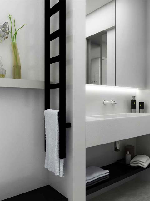 narrow towel radiators, narrow heated towel rails, black towel rails