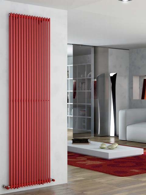 red radiators, central heating radiators, tall radiators, modern radiators, coloured radiators