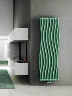 tall radiators, green radiators, living room radiators