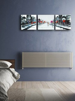 bedroom radiators, horizontal radiators, cream radiators