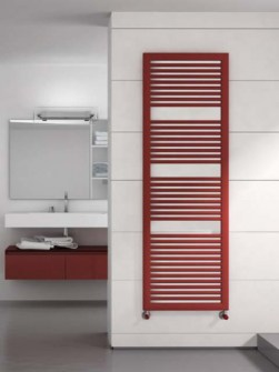 black towel radiators, red heated towel rails, coloured bathroom radiators