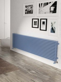 blue horizontal radiators, central heating radiators, tubular radiators