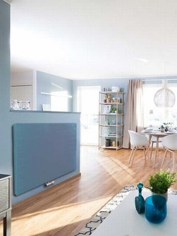 flat panel radiators, blue radiators, kitchen radiators