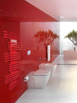 red heated towel rail, coloured towel radiators, red bathroom radiators