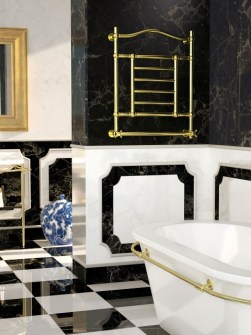 gold towel radiators, gold heated towel rails, wall mounted towel radiators