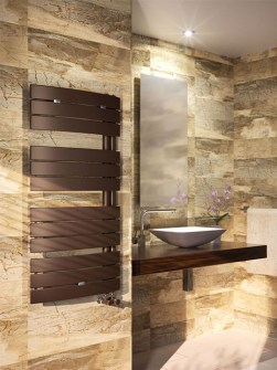 asymmetrical radiators, modern bathroom radiators, brown towel radiators