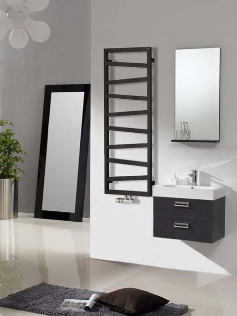 black towel radiators, black electric towel radiators, matt black towel radiators
