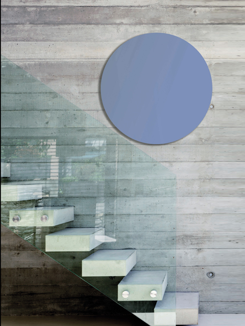 circular radiators, light blue radiators, glass radiators