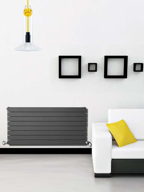 horizontal radiators, high BTU radiators, grey radiators, coloured radiators, heating radiators