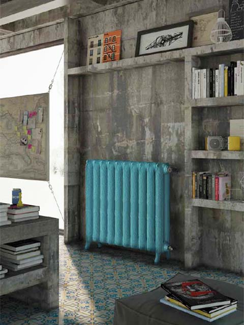 blue radiators, classic cast iron radiators, coloured cast iron radiators