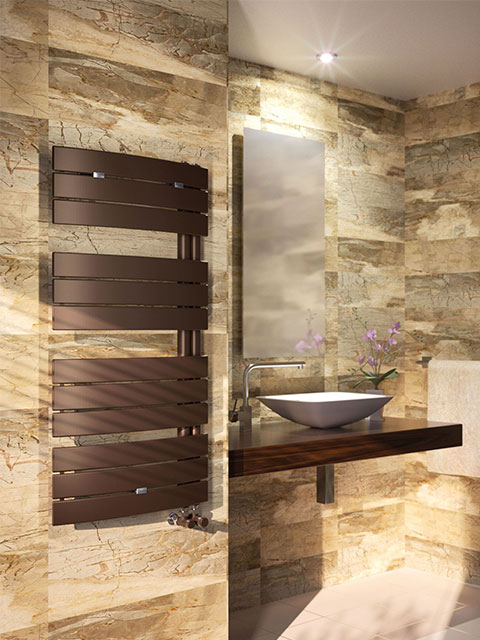 asymmetrical radiators, modern bathroom radiators, towel rail, heated towel rail, coloured towel rail