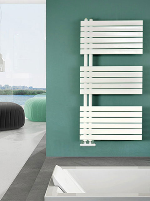 heated towel radiators, asymmetric designer radiators, asymmetric towel radiators