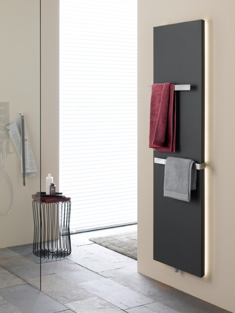 anthracite towel radiators, flat bathroom radiators, vertical bathroom radiators